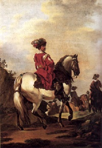 francesco-giuseppe-casanova-a-man-on-horseback-in-elegant-costume,-others-beyond
